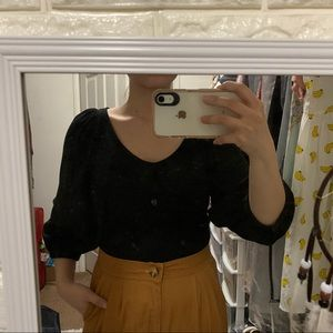 black ribbed puff sleeve blouse